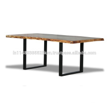Industrial Natural Finish Live Edge Top with Metal Legs Dining Table