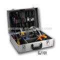 caja de herramientas de aluminio fuerte y portátil con paleta de herramientas plegables y compartimentos ajustables en el interior