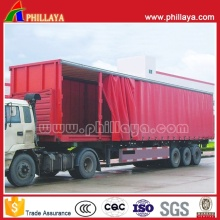 3axles PVC Tarpaulin Truck Cargo Van Box Curtainside Semi Trailer