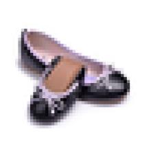 Lady PU кожа верхней моды обуви женщин Складные балетные квартиры
