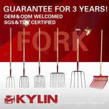 Les bons outils de ferme de jardin d'outils de ferme de fourchette forgent des types en acier de fourchette de fourchette
