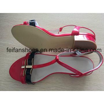 Sapatos de salto alto de 2-3cm com cores de beleza, sandálias de verão ao ar livre feminino
