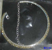Women Rhinestone, Gemstone Jewelry Crystal Chain Wedding Necklace And Earring Sets