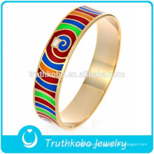 Rose Gold Plated Enamel Bangle Shiny Bright Colour Interphase Wholesale Stylish Enamel Women Colorful Bangle