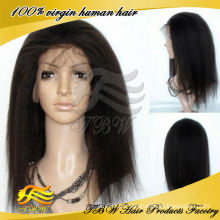 2015 venda Quente Em estoque Remy Indiano Grossa Yaki peruca cheia do laço