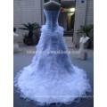 Em Stock Elegante decote Scalloped Off The Shoulder Organza Vestido de Noiva com Ruffles Vestidos de casamento brancos NB1286