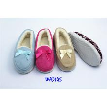 Women's Fashion Bowknot Suede Winter Fleece Moccasin Shoes