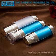 ZB-WV série 20ml (10mlx2) 30ml (15mlx2) double chambre flacons airless de cosmétique double pompe solide en plastique ovale