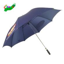 Water repellent nylon cloth fabric navy blue logo golf umbrellas, nylon fabric iron tube hand open umbrella