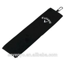 Toalla de golf 100% algodón negro toalla de golf GYM toalla de deporte logotipo personalizado ST-013