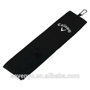 Golf towel 100% cotton black golf towel GYM sport towel customized logo ST-013