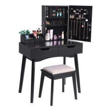 Wooden Mirrored Makeup Vanity Desk Cabinet Dresser with Makeup