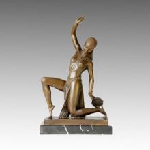 Danse Statue A Genoux Sculpture Lady Bronze, DH Chiparus TPE-399