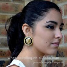 Atacado Alibaba Hot Lion Leão Head Ouro Plated Earring Stud Para Lady
