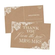 50 4X6 El papel antiguo de Kraft le agradece las postales Granel en blanco Gracias las tarjetas Tarjeta de invitación Boda