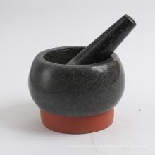 Granit Motar und Pistill mit Silikonfuß 13x8cm