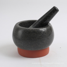granite motar and pestle with silicon base 13x8cm