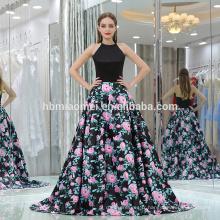 Personnalisé charmant femmes parti porter robe de soirée sexy backless noir floral imprimé satin musulman robe de soirée pour les dames
