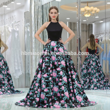 Personalizado mulheres charmosas partido desgaste vestido de noite sexy backless floral preto impresso cetim vestido de noite muçulmano para senhoras