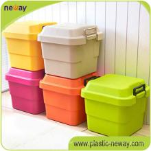 Grande boîte de rangement en plastique colorée de ménage de pp de nouvelle grande conception pour le ménage
