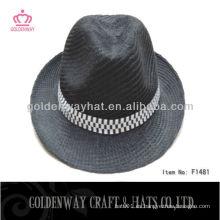 Barato promocional 100 poliéster sombrero panamá negro
