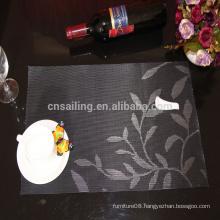 hot sale& whosale Eco-Friendly leaves jacquard pvc placemat