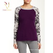 Impression de laine cachemire Casual moyen âge pull-over femmes