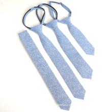 Mode Chambray Blue Cotton Zipper Kinder Krawatte