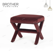 Upholstery home furniture fabric small low wooden foot stool