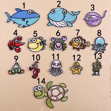 Tartaruga de peixe desenho animado de animais marinhos Patches bordados