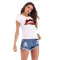 T-shirts à manches courtes pour femmes avec motif à lèvres