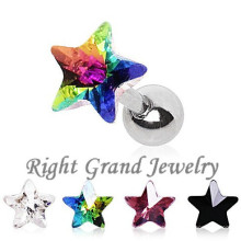 Custom Design 316L Steel Star Zircon Earring Fake Tragus Stud