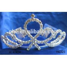 Tiara cristalina de la princesa de la tiara de la nueva corona cristalina del modelo para las muchachas corona la corona