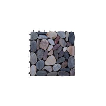 Outdoor stone pebble wpc interlocking deck tiles