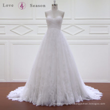 XW6624 a line sweetheart lace up back sleeveless puffy organza wedding dress export