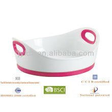 round ceramic baking pan with silicone handles