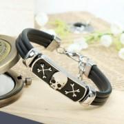 Fashion Men's punk style metal bracelet with skull head wholesale jewelry