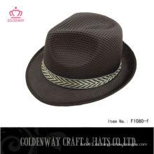 Sombrero barato del fedora para el poliester promocional del color marrón pp
