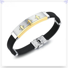 Fashion Jewellery Stainless Steel Jewelry Silicone Bracelet (LB221)