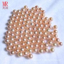 8-9mm rosa natürliche runde lose Perle