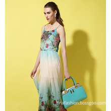 Europe And America Long Dresses Floral Empire Gradient Fashion Women Casual Dresses