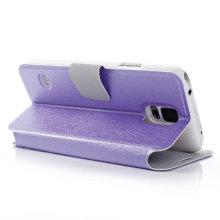 Capa de telefone de couro forrado de seda para Samsung Galaxy S5