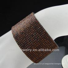 Design atacado de pulseira rhinestone marrom com fivela de ímã