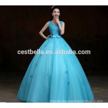 2017 vestido azul vestido de novia de longitud de piso atado decoración de diamante nuevo vestido de boda de estilo al por mayor