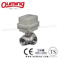 Трехходовой электрический шаровой клапан из нержавеющей стали