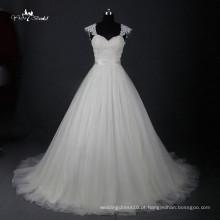 LZ162 Cap Sleeve Custom Made Dress Vestido de noiva em Tulle Vestidos de casamento em tecido de renda Vestidos de noiva