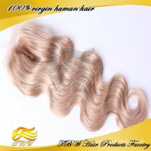Não transformados natural preto médio do corpo da Onda Do Corpo fechamento do laço fechamentos do laço do cabelo humano peruano virgem