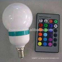 Oferta del fabricante con la lámpara del bulbo del rgb del control remoto del uso de CE RoHS E27 3W