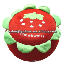 Lovely and practical plush strawberry inflatable stool