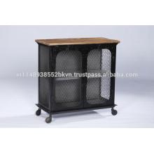 Industrial Vintage Metall und Holz 2 Tür Schrank mit Rädern